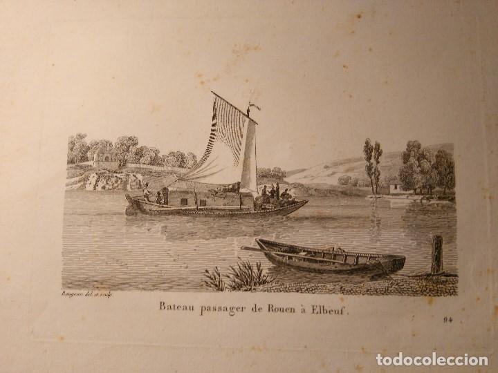 JEAN JERÔME BAUGEAN. GRABADO ORIGINAL BARCO. BATEAU PASSAGER DE ROUEN A ELBEUF. 1817-1826 (Arte - Grabados - Modernos siglo XIX)