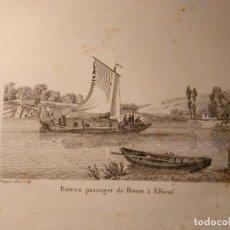Arte: JEAN JERÔME BAUGEAN. GRABADO ORIGINAL BARCO. BATEAU PASSAGER DE ROUEN A ELBEUF. 1817-1826. Lote 97571719