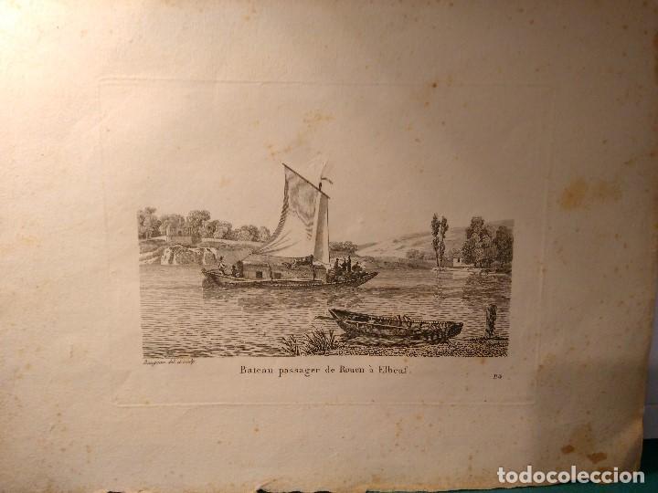 Arte: Jean Jerôme Baugean. Grabado original Barco. Bateau passager de Rouen a Elbeuf. 1817-1826 - Foto 2 - 97571719