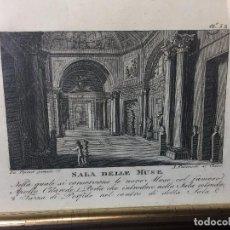 Arte: GRABADO ITALIA SALA DELLE MUSE A. FRANZETTI AL CORSO ROMA PALACIO INTERIOR COLUMNAS PORFIDO MUSAS 20. Lote 97604991