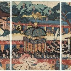 Arte: TRÍPTICO ORIGINAL GRABADO JAPONÉS POR UTAGAWA YOSHITSUYA (1822-1866). JAPÓN. SIGLO XIX. Lote 97827131