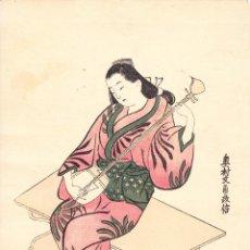 Arte: GRABADO JAPONES ANTIGUO MUJER PRACTICANDO EL SHAMISEN DE MUSASHI DE MASANOBU (CIRCA 1686 - 1764). Lote 97919747