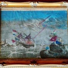 Arte: GRABADO SIGLO XVIII,1770,GALEONES HUNDIDOS EN TEMPESTAD,EPOCA REY CARLOS III,CARGA 8-4 ESCUDOS ORO. Lote 98011019
