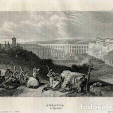 Arte: VISTA DEL ACUEDUCTO ROMANO DE SEGOVIA (ESPAÑA), 1860. MEYERS. Lote 98022847