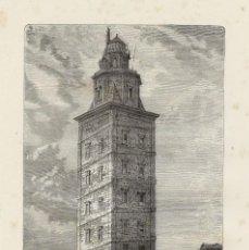 Arte: VISTA DE LA TORRE DE HÉRCULES (A CORUÑA, GALICIA, ESPAÑA), 1876. DEROY. Lote 98023095