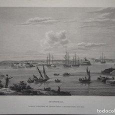 Arte: VISTA DE LA ISLA DE MENORCA ( ISLAS BALEARES,ESPAÑA), 1836. DAVENPORT/KELLY. Lote 98031379