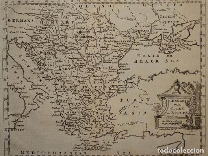Arte: Mapa de Hungría, Turquía y Grecia, circa 1780. Thomas Jefferys - Foto 2 - 98134335