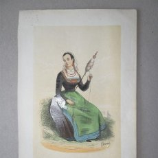 Arte: MUJER HILANDO DE VIGO ( GALICIA,ESPAÑA), 1848. MANUEL CUENDIAS /VICTOR FÉRÉAL. Lote 98136567