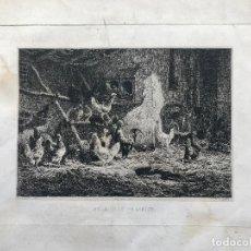 Arte: CHARLES-EMILE JACQUE-INTERIOR DE UNA GRANJA- SXIX. Lote 105184247