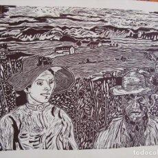 Arte: LITOGRAFIA PAREJA DE CAMPESINOS. ORIGINAL. VER FIRMA.. Lote 98545015