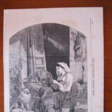 Arte: MUJER COSIENDO A LA PUERTA DE CASA, 1858. Lote 98790259