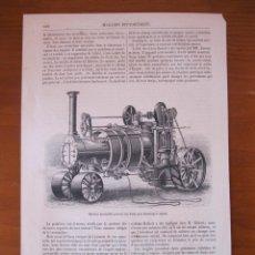 Arte: MODELO DE LOCOMOTORA A VAPOR FRANCESA, 1865. Lote 98793595
