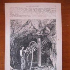 Arte: EL PERFORADOR LESCHOT Y EL MOTOR PERRET EN PLENO FUNCIONAMIENTO, 1866. LANCELOT. Lote 98793923