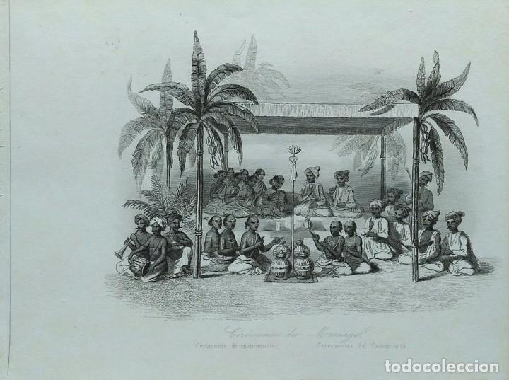 LOTE DE 6 GRABADOS SOBRE COSTUMBRES DE CIVILIZACIONES DESCONOCIDAS. AÑO 1846 (Arte - Grabados - Modernos siglo XIX)