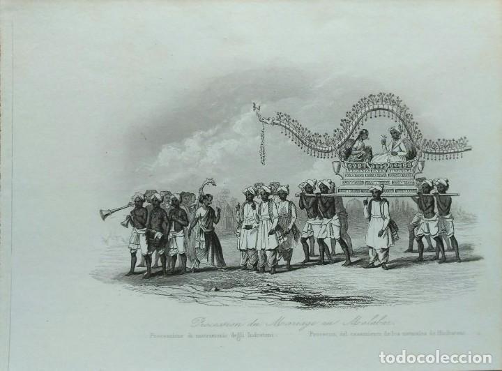 Arte: Lote de 6 grabados sobre costumbres de civilizaciones desconocidas. Año 1846 - Foto 2 - 99667127