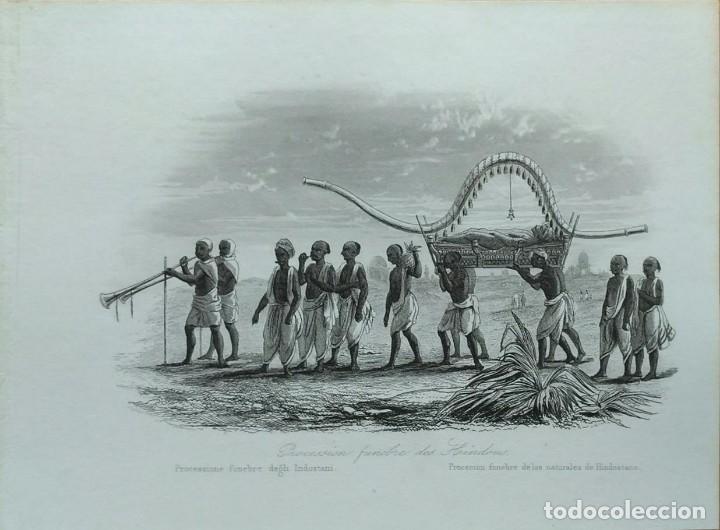 Arte: Lote de 6 grabados sobre costumbres de civilizaciones desconocidas. Año 1846 - Foto 3 - 99667127