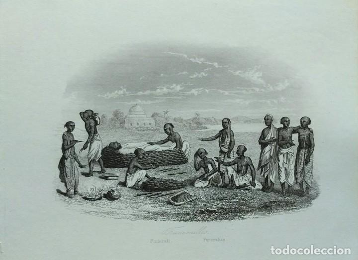 Arte: Lote de 6 grabados sobre costumbres de civilizaciones desconocidas. Año 1846 - Foto 4 - 99667127