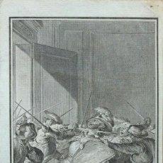 Arte: AGUAFUERTE, ASESINATO DE PIZARRO POR ROMANET 1780. Lote 99675479