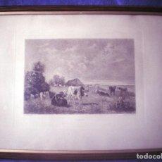 Arte: GRABADO ENMARCADO DE LUCIEN GAUTIER SCULP - LA FALAISE - G TROYON PINTOR PINX 33,5X46. Lote 99754127