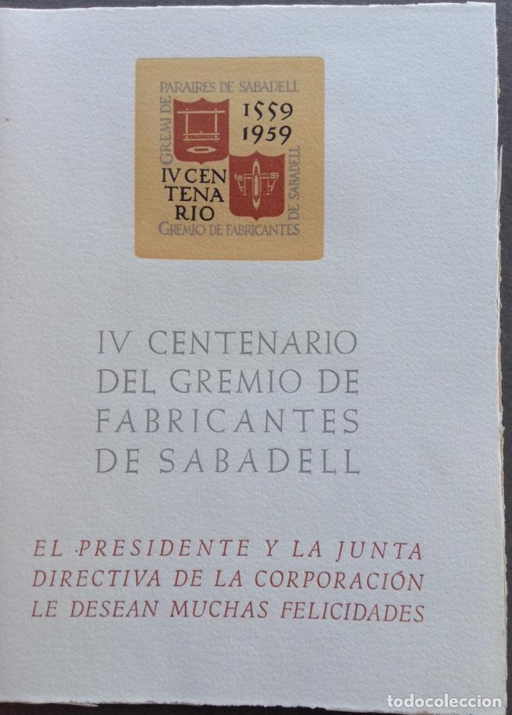 Arte: IV CENTENARIO DEL GREMIO DE FABRICANTES DE SABADELL CONTIENE 12 GRABADOS DE OFICIOS - Foto 2 - 99877959