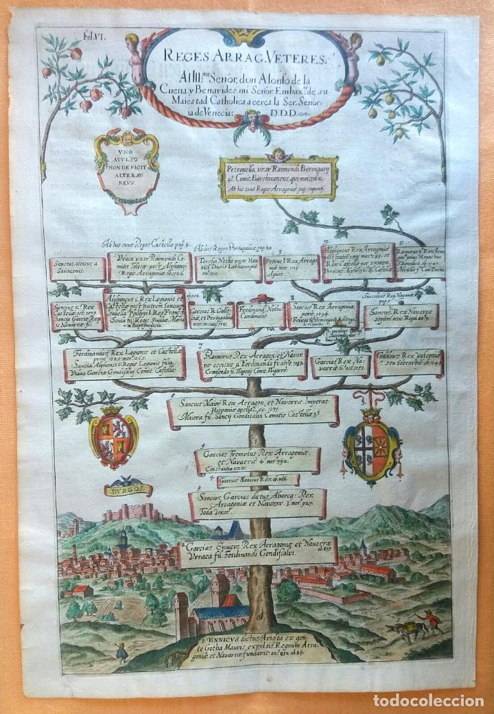 GRABADO ANTIGUO ARAGÓN ÁRBOL GENEALÓGICO REYES ARAGONESES AÑO 1650 CON CERTIFICADO AUTENTICIDAD . (Arte - Grabados - Antiguos hasta el siglo XVIII)