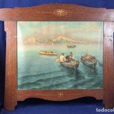 Arte: CROMOLITOGRAFIA PPIOS S XX ITALIA BAHIA SICILIA NAPOLES PESCADORES MARQUETERIA ART NOUVEAU 59X70CMS. Lote 101160867