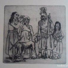 Arte: JOSÉ GUTIÉRREZ SOLANA (1886-1945) MASCARAS PERRO AGUAFUERTE 24X26 CMS PAPEL DE 50X65 FIRMA PLANCHA. Lote 101164011