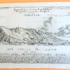 Arte: GRABADO ANTIGUO DE GIBRALTAR 1740 ORIGINAL CERTIFICADO. GRABADOS ANTIGUOS GIBRALTAR. Lote 80342449