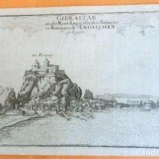 Arte: GRABADO ANTIGUO DE GIBRALTAR 1740 ORIGINAL CERTIFICADO. GRABADOS ANTIGUOS GIBRALTAR. Lote 80343017