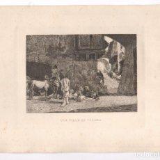 Arte: GRABADO MARIÀ FORTUNY, UNA CALLE DE TÁNGER, MIQUEL SEGUÍ. 23X33,5CM. Lote 101521875