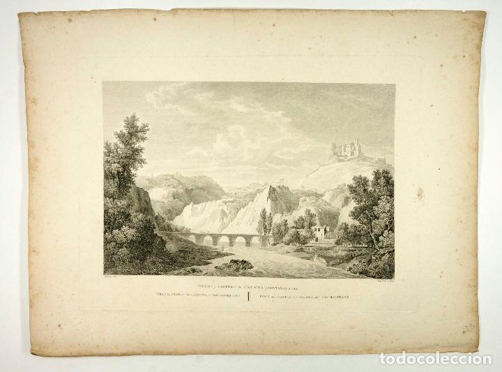 CARDONA CIUDAD, CASTILLO, MONTAÑAS DE SAL, , GRABADO AGUAFUERTE 54X40CM. AÑO 1806 APROX. (Arte - Grabados - Contemporáneos siglo XX)