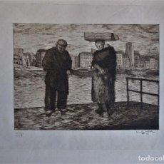 Arte: GRABADO: EL ANGELUS, FIRMADO Y FECHADO. 71. Lote 102067995