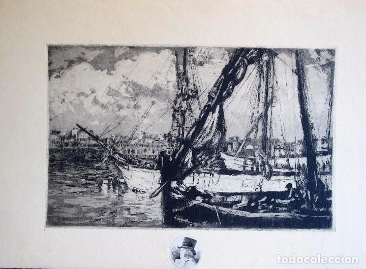 GRABADO ANÓNIMO: BARCOS PESQUEROS, AÑOS 70 (Arte - Grabados - Contemporáneos siglo XX)