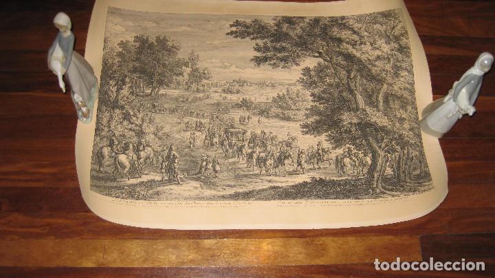 GRABADO ORIGINAL DE F. VAN DER MEULEN 1632-1690, CON EL REY SOL Y SUS DAMAS EN EL BOSQUE VINCENNES (Arte - Grabados - Antiguos hasta el siglo XVIII)