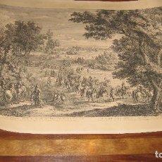 Arte: GRABADO ORIGINAL DE F. VAN DER MEULEN 1632-1690, CON EL REY SOL Y SUS DAMAS EN EL BOSQUE VINCENNES. Lote 102516139