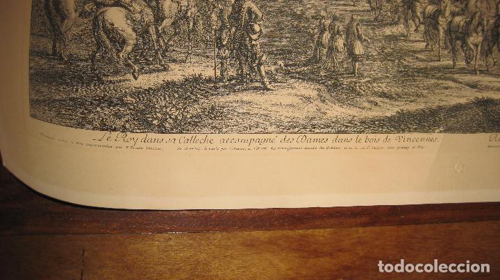 Arte: Grabado original de F. van der Meulen 1632-1690, con el Rey Sol y sus damas en el bosque Vincennes - Foto 2 - 102516139