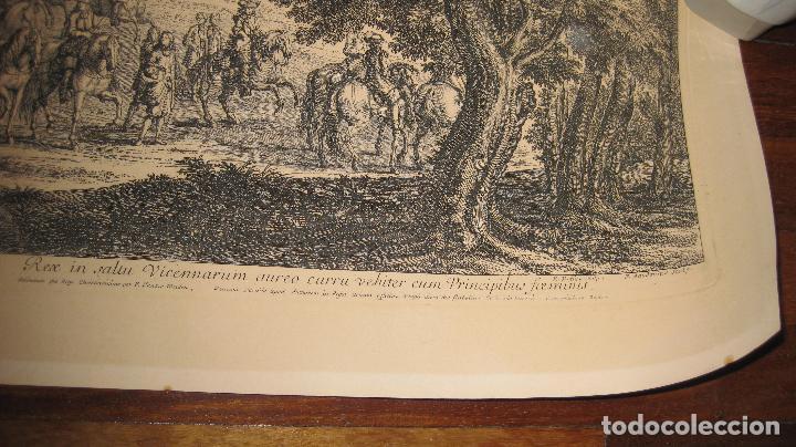 Arte: Grabado original de F. van der Meulen 1632-1690, con el Rey Sol y sus damas en el bosque Vincennes - Foto 3 - 102516139