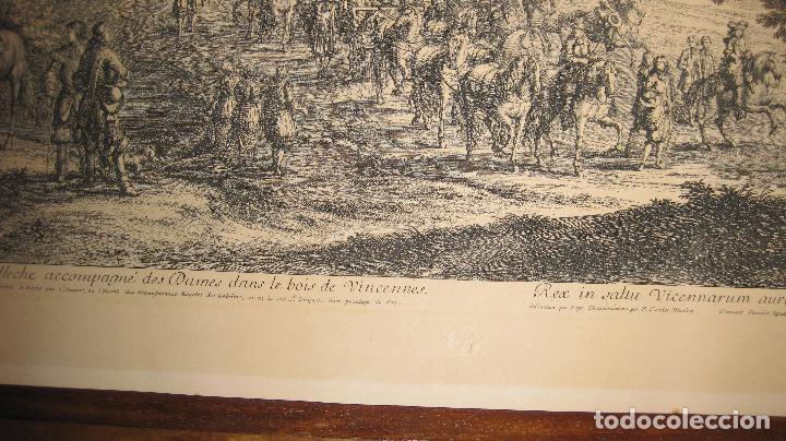Arte: Grabado original de F. van der Meulen 1632-1690, con el Rey Sol y sus damas en el bosque Vincennes - Foto 4 - 102516139