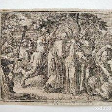 Arte: MARAVILLOSO GRABADO ORIGINAL DE FINALES DEL SIGLO XVI, LA TRAICIÓN A JESUS. Lote 102588287
