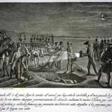 Arte: ENTIERRO DE HEROES ESPAÑOLES EN LA GUERRA DE INDEPENDENCIA. GRABADO. ESPAÑA. CIRCA 1815. Lote 102700015