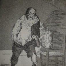 Arte: GOYA. AGUAFUERTE CAPRICHOS DE GOYA. M. SEGUÍ, SIGLO XIX. TITULO Y SE LE QUEMA LA CASA. Lote 103055011