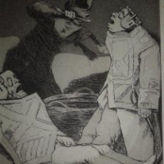 Arte: GOYA. AGUAFUERTE CAPRICHOS DE GOYA. M. SEGUÍ, SIGLO XIX. TITULO LOS CHINCHILLAS. Lote 218796010