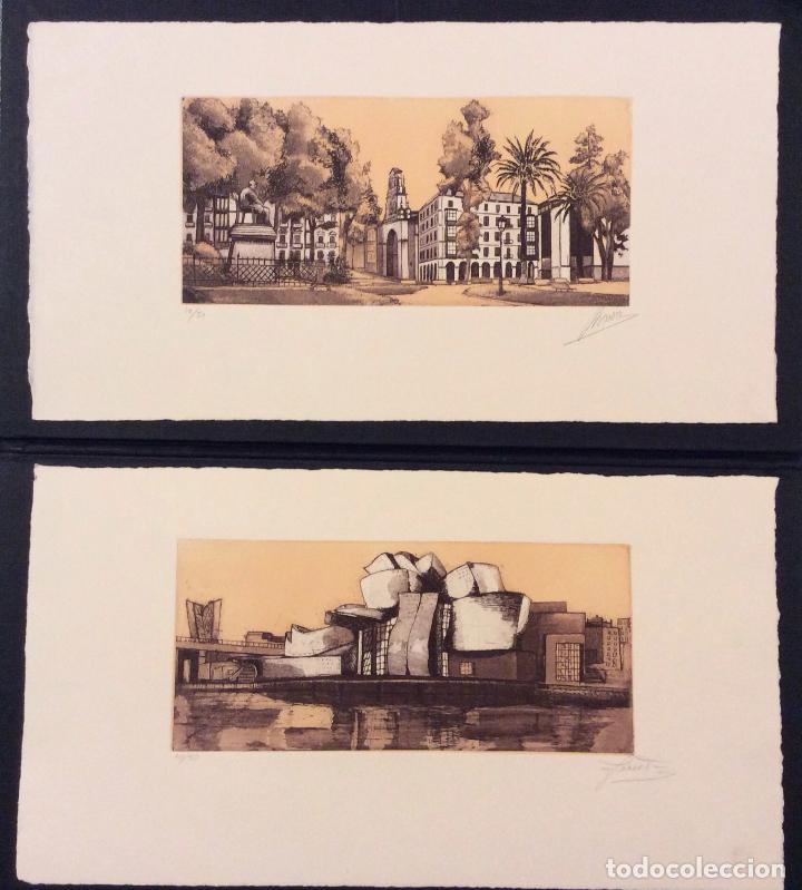 BILBAO METROPOLI -2001 ,CONJUNTO DE 4 AGUAFUERTES ,FIRMADOS Y NUMERADOS (Arte - Grabados - Contemporáneos siglo XX)