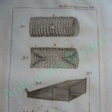 Art: GRABADO DICC. HISTÓRICO DE LOS ARTES DE LA PESCA NACIONAL TOMO IV LÁMINA LXI AÑO 1793 (34,3 X 24 CM). Lote 103391255