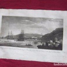 Arte: ANTIGUO GRABADO - EL FONDEADERO DE LAS CORBETAS DESCUBIERTA Y ATREVIDA EN LAS ISLAS DE VAVAO . Lote 103565467