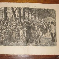 Arte: GRABADO DE LAS RAMBLAS DE BARCELONA, DE PELLICER. AÑO 1874.. Lote 103685891