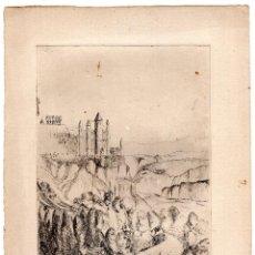 Arte: GRABADO ANTIGUO ESCENA DE CASTILLO EN LA MONTAÑA 19,5 X 24 CM. Lote 103782631