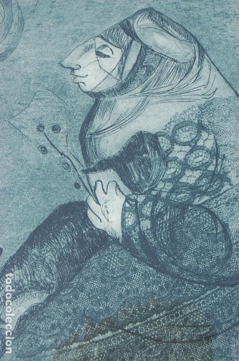 Arte: Esther Ortego (1934-2012). Grabado de 32x50 papel 48x62. Firmado a lápiz ejemplar 205/275 - Foto 2 - 103876651