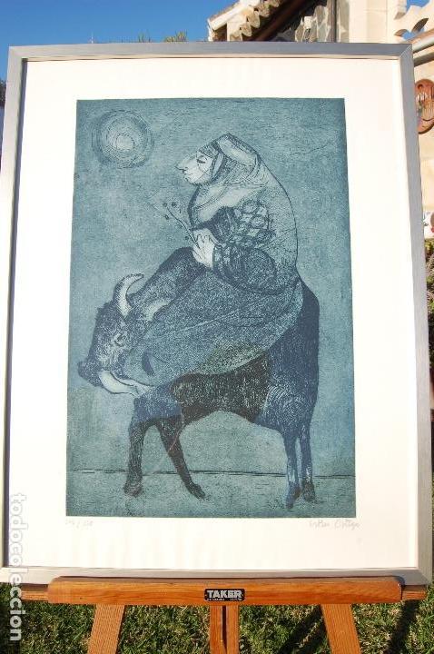 Arte: Esther Ortego (1934-2012). Grabado de 32x50 papel 48x62. Firmado a lápiz ejemplar 205/275 - Foto 3 - 103876651