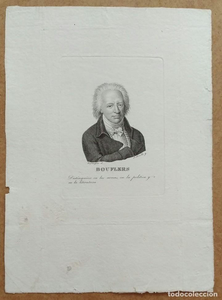 Arte: Retrato de Bouffers, aguafuerte de Juan Amills. 1840 - Foto 2 - 103968943